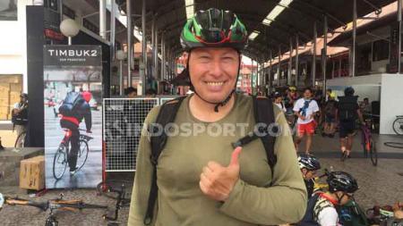 Pesepeda asal Swiss yang hanya datang untuk mencari kesenangan di CMWC 2019 Jakarta, Jiexpo Kemayoran (Gambir Expo), Sabtu (24/8/19). - INDOSPORT