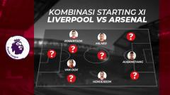 Indosport - Kombinasi starting XI Liverpool vs Arsenal.