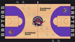 Indosport - Desain lapangan baru Toronto Raptors yang bocor di internet.