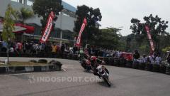 Indosport - Sesi latihan & kualifikasi Honda Dream Cup Pekanbaru 2019, Sabtu (28/08/19), di Sirkuit Stadion Sport Center Rumbai, Pekanbaru.