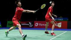 Indosport - Wakil ganda putra China telah habis di gelaran Denmark Open 2019.