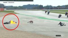 Indosport - Ilustrasi kecelakaan di arena MotoGP Inggris 2019.