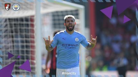 Sergio Aguero merayakan gol ke gawang Bournemouth. - INDOSPORT