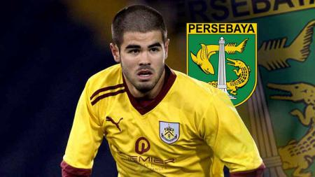 Osayamen Osawe saat berseragam Burnley dan logo Persebaya. - INDOSPORT
