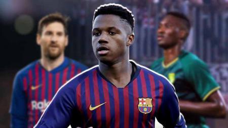 Lionel Messi, Ansu Fati dan Amido Balde. - INDOSPORT