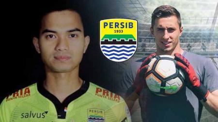 Kiper baru Persib Bandung, Dhika Bayangkara dan eks AC Milan, Jacopo Viola. - INDOSPORT