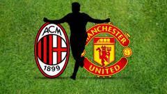 Indosport - Logo AC Milan vs Manchester United.