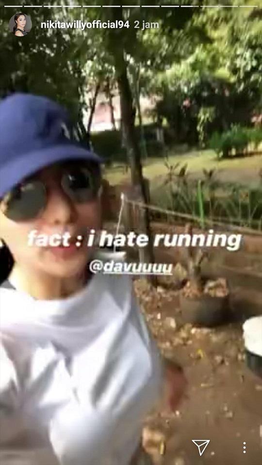 Unggahan Instagram Nikita Willy ketika sedang jogging. Copyright: Instagram @nikitawillyofficial94