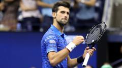 Indosport - Novak Djokovic di AS Terbuka 2019 melawan Denis Kudla.