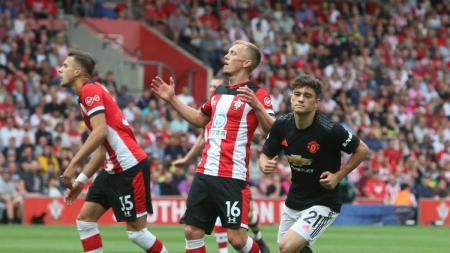 Selebrasi Daniel James di laga Southampton vs Manchester United, Sabtu (31/8/19) - INDOSPORT