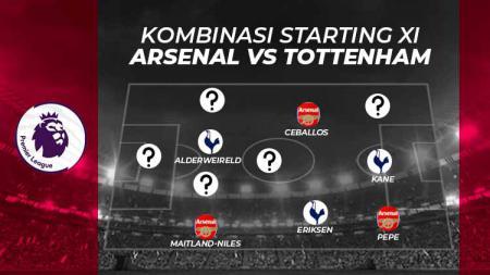 Kombinasi starting XI Arsenal vs Tottenham Hotspur. - INDOSPORT