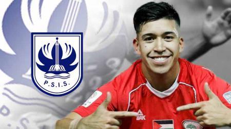 Jonathan Cantillana dan logo PSIS Semarang. - INDOSPORT