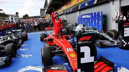 Haru! Charles Leclerc dedikasikan juara F1, GP Belgia 2019 untuk pembalap F2, Antoine Hubert yang telah meninggal di lintasan. - INDOSPORT