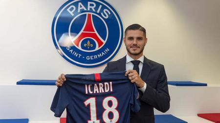 Mauro Icardi saat diperkenalkan ke Paris Saint-Germain. - INDOSPORT