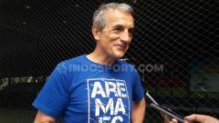 Indosport - Pelatih Arema FC, Milomir Seslija memberikan pernyataan jelang lawan Madura United di Shopee Liga 1 2019 pekan ke-27.