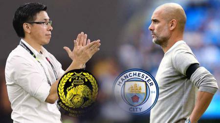 Pelatih Timnas Malaysia, Tan Cheng Hoe dan pelatih Manchester City, Pep Guardiola. - INDOSPORT