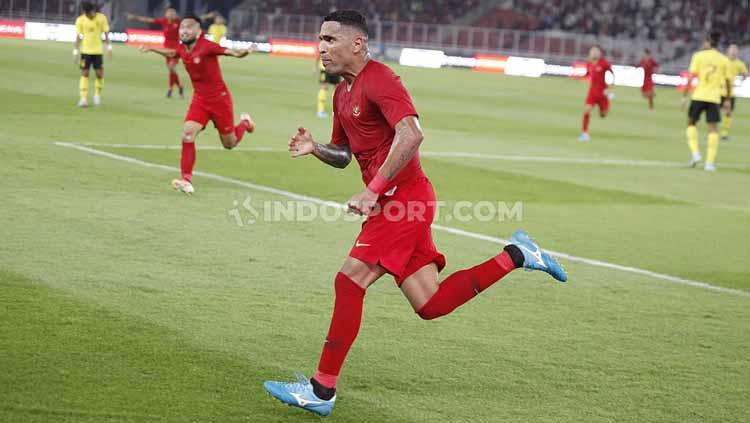 Beto Goncalves berselebrasi usai mencetak gol ke gawang Malaysia, Kamis (09/05/2019). Foto: Herry Ibrahim/INDOSPORT Copyright: Herry Ibrahim/INDOSPORT