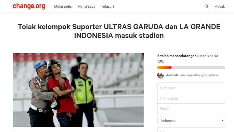 Petisi Andri Marbun yang meminta suporter Ultras Garuda dan La Grande Indonesia masuk ke stadion. Copyright: change.org