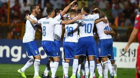 Skuat Timnas Italia merayakan gol ke gawang Armenia pada laga Kualifikasi Piala Eropa 2020. - INDOSPORT