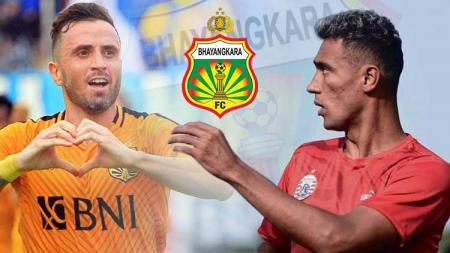 Paulo Sergio, Bruno Matos dan logo Bhayangkara FC. - INDOSPORT