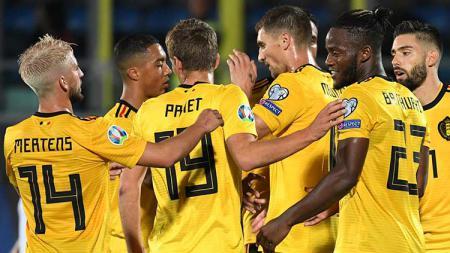 Selebrasi para pemain Belgia usai menang 4-0 atas San Maruni di Kualifikasi EURO 2020. - INDOSPORT