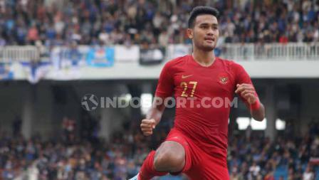 Striker Timnas U-22, Muhammad Rafli berselebrasi usai mencetak gol ke gawang PSIM Yogyakarta.