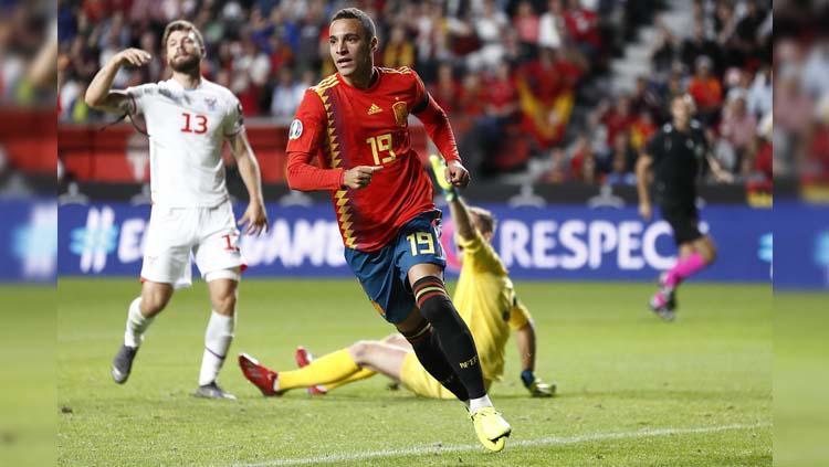 Rodrigo Moreno mencetak gol pada pertandingan Spanyol vs Kepulauan Faroe di Kualifikasi Euro 2020, Senin (09/09/19). Copyright: Twitter/@SeFutbol
