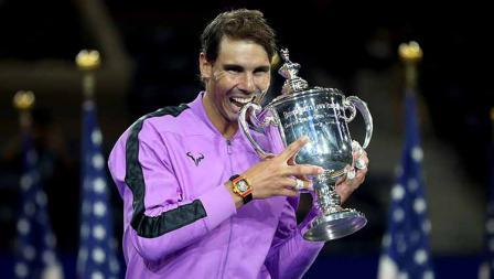 Rafael Nadal juara AS Terbuka 2019 usai mengalahkan Daniil Medvedev, Senin (09/09/19) di Stadion Arthur Ashe.