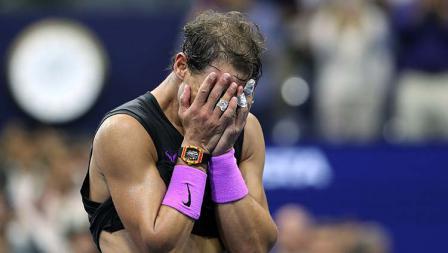 Ekspresi kemenangan Rafael Nadal di final AS Terbuka 2019.
