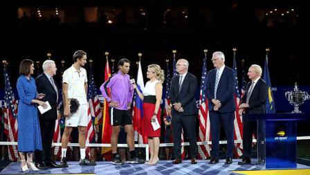 Rafael Nadal diwawancarai usai memastikan gelar AS Terbukanya yang keempat.