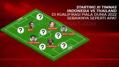 Indosport - Starting XI Timnas Indonesia vs Thailand di Kualifikasi Piala Dunia 2022.