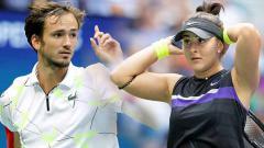 Indosport - Daniil Medvedev dan Bianca Andreescu dua petenis yang curi perhatian di Amerika Terbuka 2019.