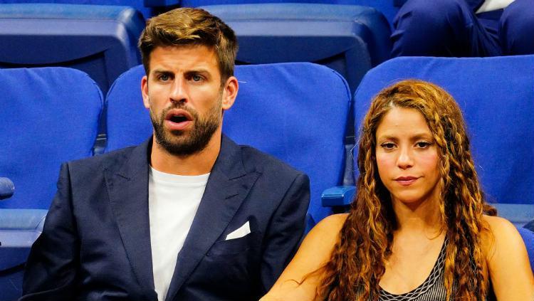 Ekspresi Gerard Pique bersama Shakira saat menonton Rafael Nadal di AS Terbuka 2019. Copyright: Gotham/GC Images