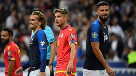 Pemain Timnas Prancis, Antoine Griezmann dan Olivier Giroud, di laga vs Andorra di Kualifikasi Euro 2020. - INDOSPORT