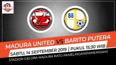 Indosport - Pertandingan Madura United vs Barito Putera.