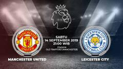 Indosport - Pertandingan Manchester United vs Leicester City.
