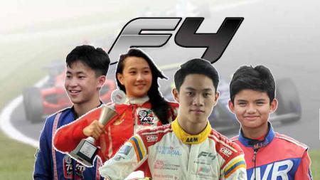Keanon Santoso, Kezia Santoso, Presley Martono, dan Perdana Putra Minang Formula 4. - INDOSPORT