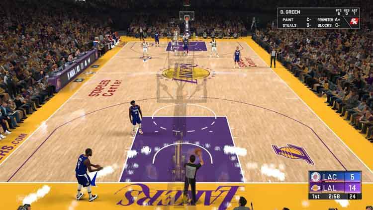 Potret pertandingan NBA pada game. Copyright: realsport101.com