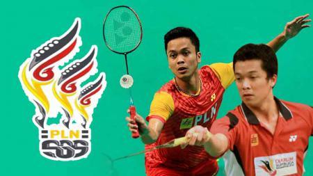 Anthony Sinisuka Ginting dan Taufik Hidayat (SGS PLN). - INDOSPORT