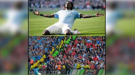Emmanuel Adebayor selebrasi di depan fans Arsenal - INDOSPORT