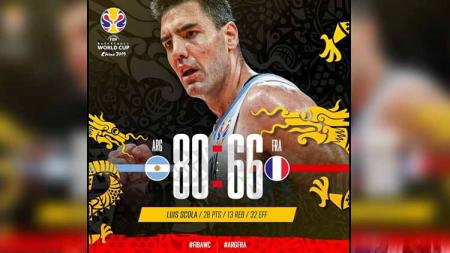 Timnas Argentina vs Timnas Prancis di semifinal FIBA World Cup 2019. - INDOSPORT