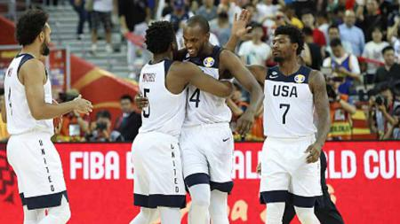 Selebrasi Timnas Basket AS di FIBA World Cup 2019. - INDOSPORT