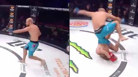 Petarung MMA Israel, Aviv Gozali berhasil tundukan lawannya Eduard hanya butuh waktu 11 detik. - INDOSPORT