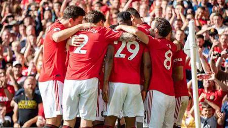 Aksi selebrasi pemain Man United usai Rashford cetak gol. - INDOSPORT