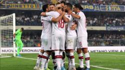 Selebrasi Piatek dan kawan-kawan di laga Verona vs AC Milan, Senin (16/09/19) dini hari WIB.