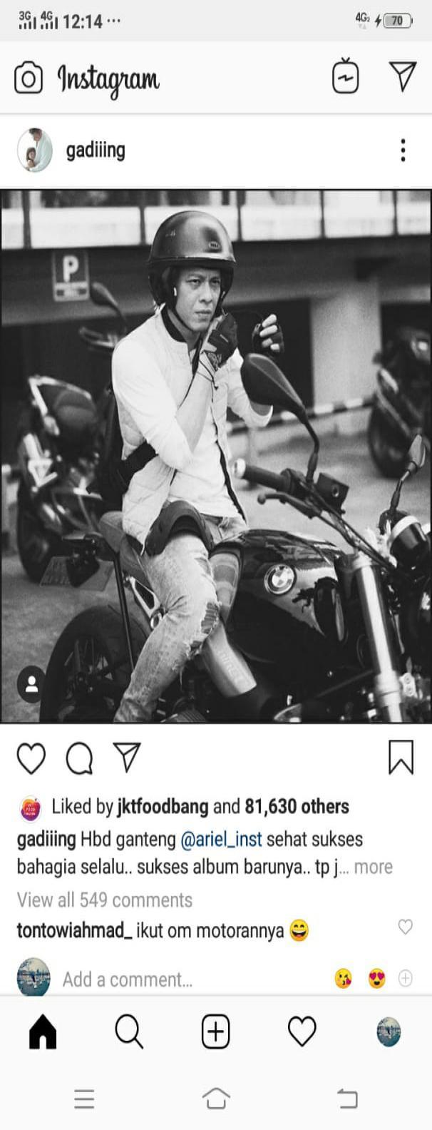 Tontowi Ahmad Ingin Diajak Riding Bareng Ariel Noah Copyright: Instagram Gading Marten
