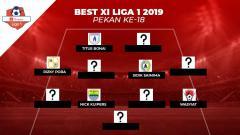 Indosport - Starting terbaik Liga 1 2019 pekan ke-18.