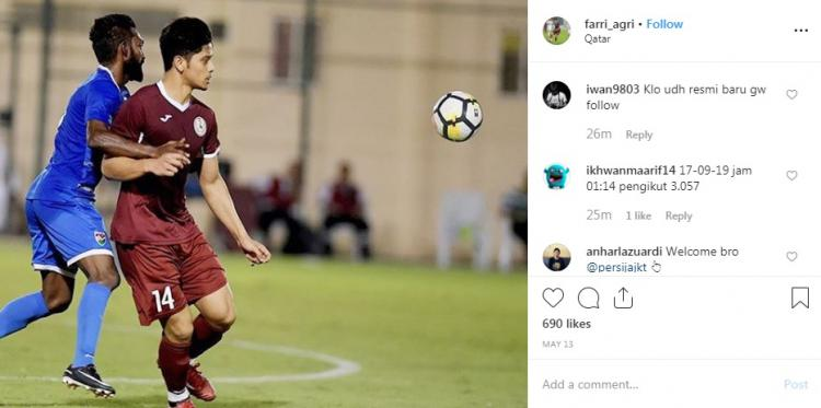 Instagram Farri Agri diserbu Jakmania Copyright: Instagram/@farri_agri