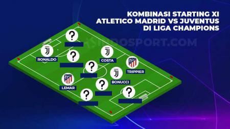Starting kombinas Atletico Madrid vs Juventus di Liga Champions. - INDOSPORT