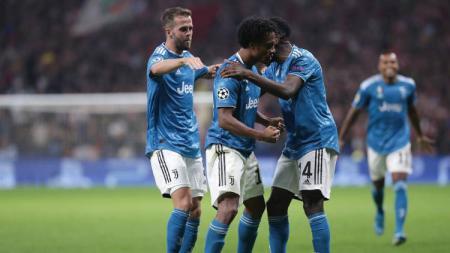 Para pemain Juventus merayakan gol Juan Cuadrado kontra Atletico Madrid di matchday 1 Grup D Liga Champions 2019/20. - INDOSPORT